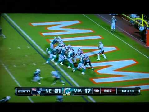 Patriots vs. Dolphins - Tom Brady pass to Wes Welker for 99 yd TD