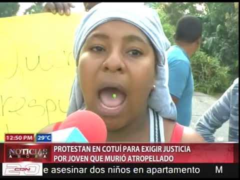 Protestan en Cotuí exigiendo justicia por joven que murió atropellado