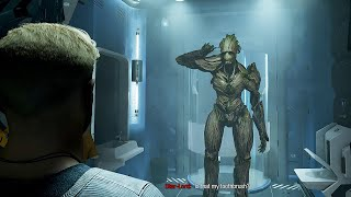 Groot uses Peter's Toothubrush to clean his ear LOL - Marvel's Guardians of the Galaxy