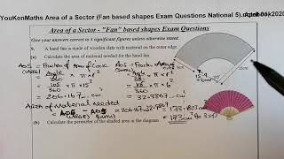 Area of a Sector, Length of Arc & Perimeter of Fan based shapes Exam Questions National 5