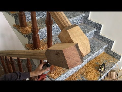 Amazing Woodworking Project For Wooden Stairs (PART 2) - How To Make Curved Railing For Wood Stairs