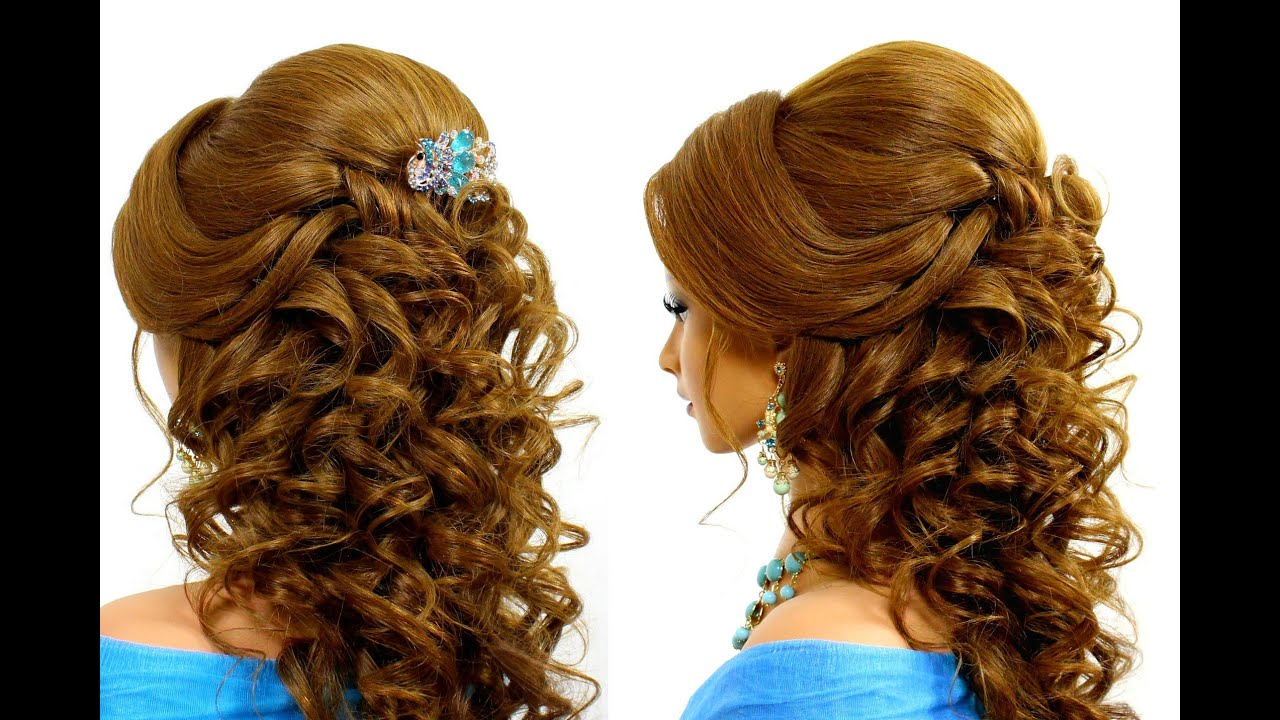 romantic wedding hairstyle for long hair tutorial - youtube