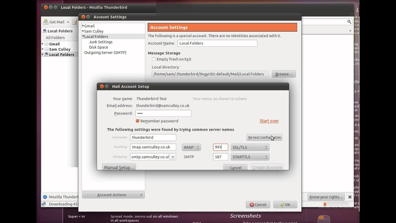 Configuring An Email Account with Thunderbird on Ubuntu 11 04