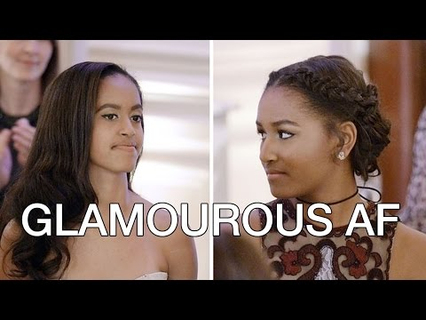 Malia & Sasha Obama State Dinner White House 2016 with Justin Trudeau, Ryan Reynolds