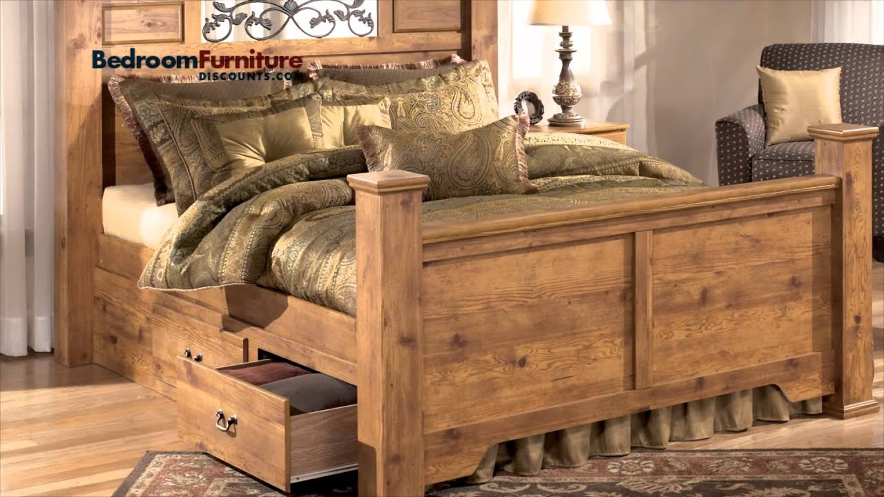 ashley bittersweet poster bedroom set with underbed storage - youtube