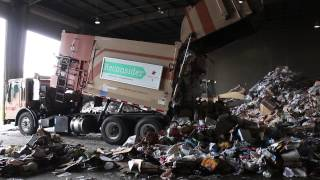 Curbtender Garbage Truck Dumping Recycling