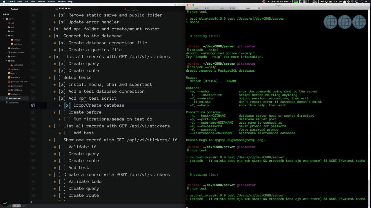 CRUD API Part 10 - Setup tests with mocha, chai and supertest