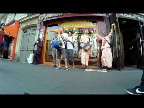 Chanting Hare Krishna by the Indian Shops in Paris