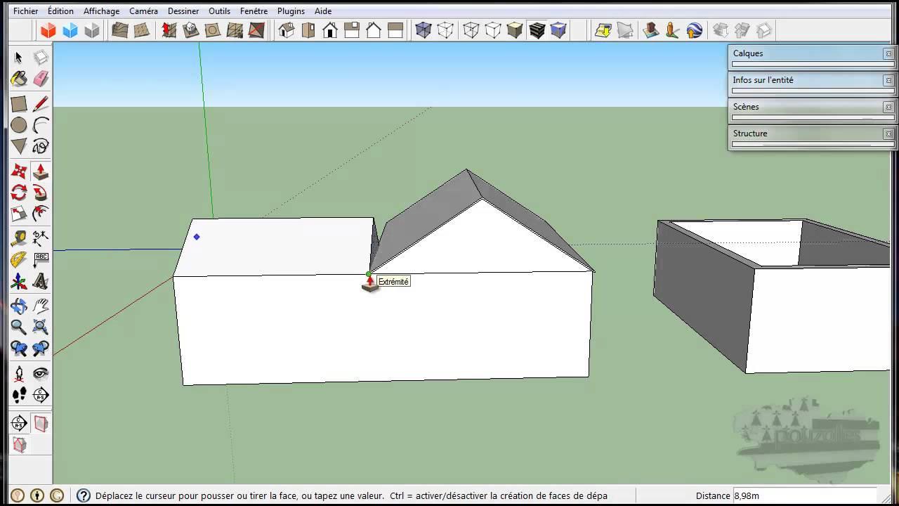 toit de maison dessin tuto google sketchup modélisation du0027une maison toit en L