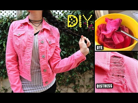 DIY Pink Distressed Denim Jacket - HOW TO DYE & DISTRESS || Lucykiins