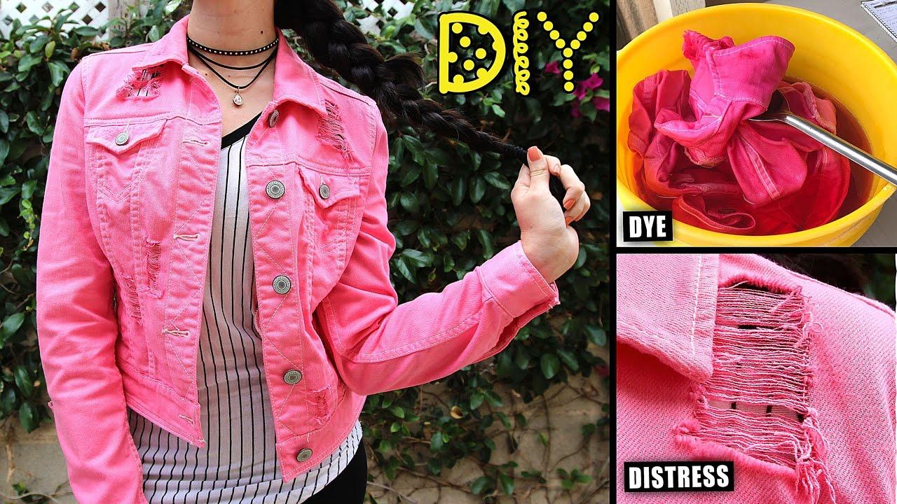 Diy Pink Distressed Denim Jacket How To Dye Distress Lucykiins