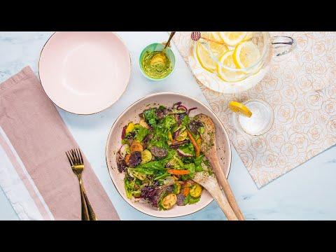 Roasted Veggie Summer Salad With Chimichurri Dressing