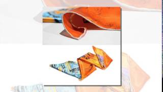 Silk Square Scarf House Patterns Orange Shawl