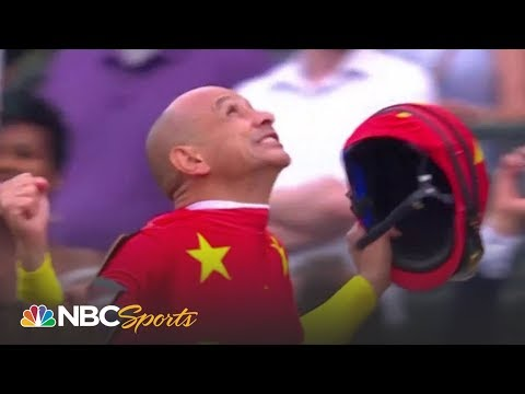 Justify's jockey Mike Smith reacts to winning the Triple Crown I NBC Sports