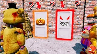 WILL ZOMBIE FREDDY CHOOSE THE LIFE OR DEATH DOOR? (GTA 5 Mods For Kids FNAF RedHatter)