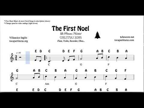 The First Noel Christmas Notes Sheet Music for Flute Violin Oboe Voice Easy Carol Song