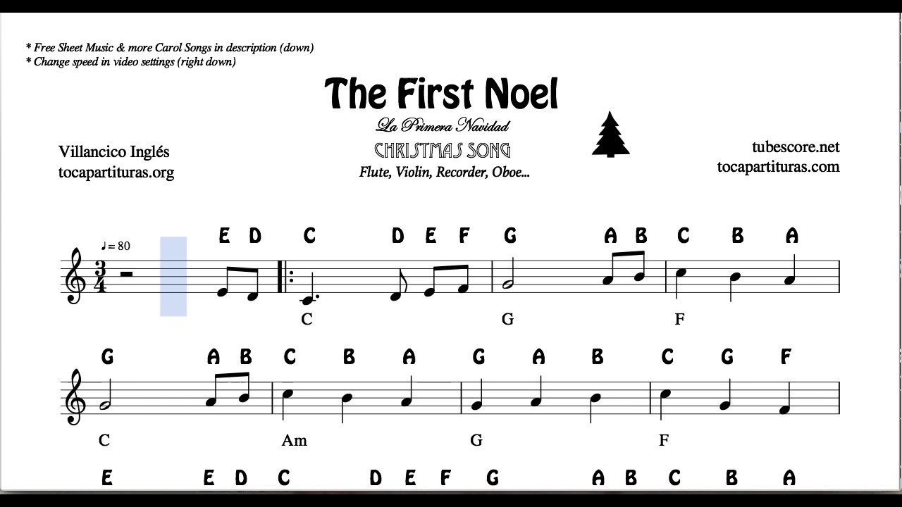 The First Noel Christmas Notes Sheet Music for Flute ...