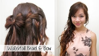 Beautiful Waterfall Braid & Bow l Valentine's Day Hairstyle