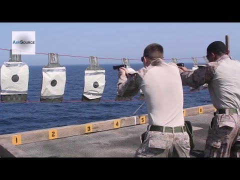 U.S. Marines M9 Pistol Qualification - USS Kearsarge Flight Deck