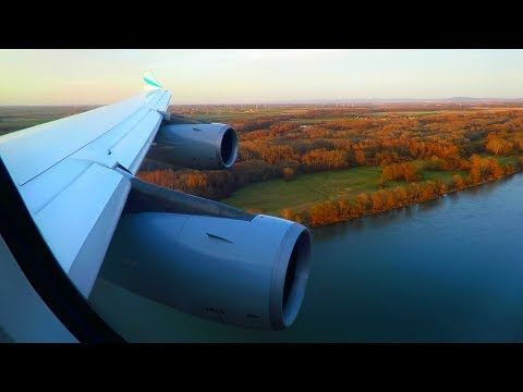 GOLDEN HOUR! Eurowings Airbus A340-300 ONBOARD Landing at Vienna Airport! Seat 10A