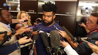 Ezekiel Elliott talks with the media about his legal situation and possible suspension