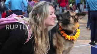 Nepal: Police honour dogs for contribution to 'crime investigation' on holy day