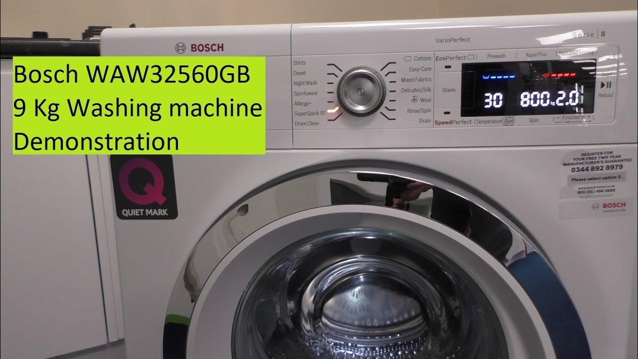 Bosch Waw32560gb 9kg Serie 8 Washing Machine Youtube