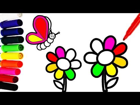 Como Dibujar Y Colorear Flores Y Una Mariposa Dibujos Faciles Para