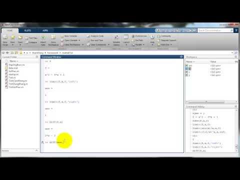 Matlab - Cơ bản - Tính giới hạn, đạo hàm, nguyên hàm, tích phân của hàm số
