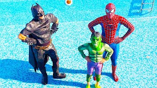 Superheroes in the pool - fun kid story with Ali and Adriana