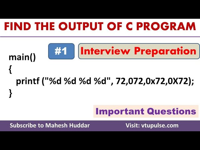 #1 Find the Output, C Programming Question and Answers, Campus Interview Preparation