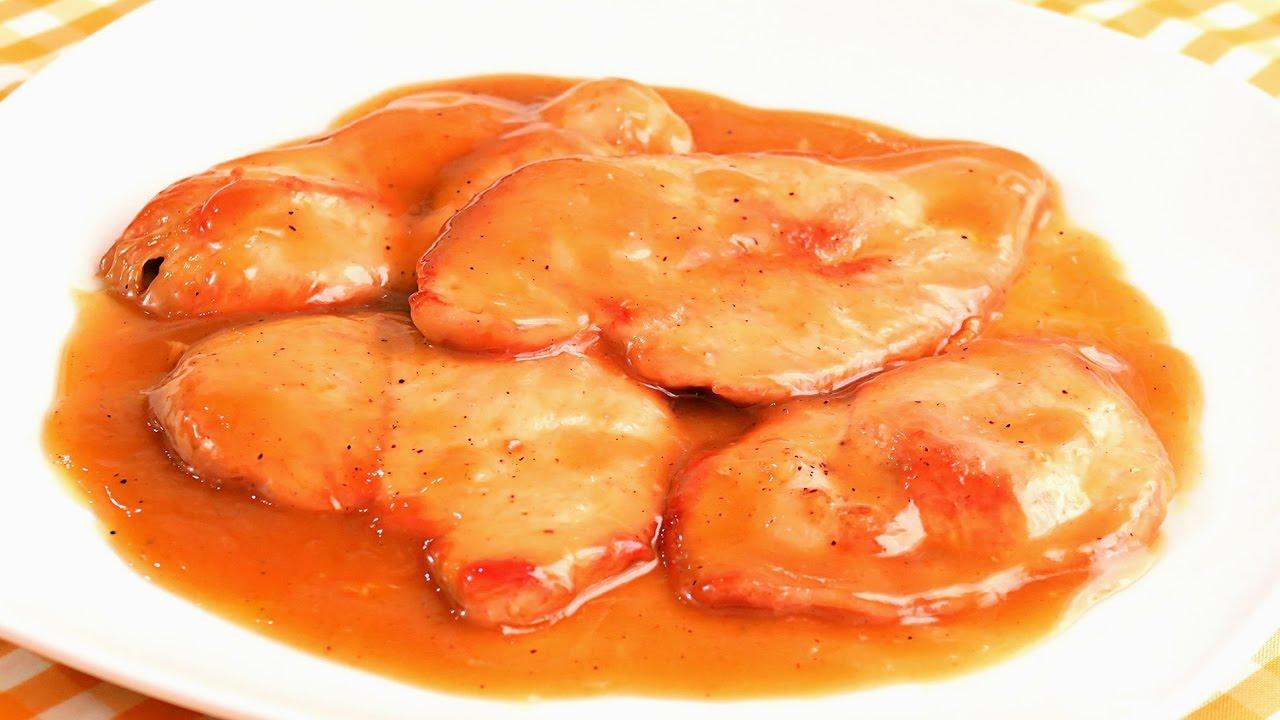 Filetes de pechuga de pollo con salsa de miel y mostaza - Pechuga d pollo en salsa ...