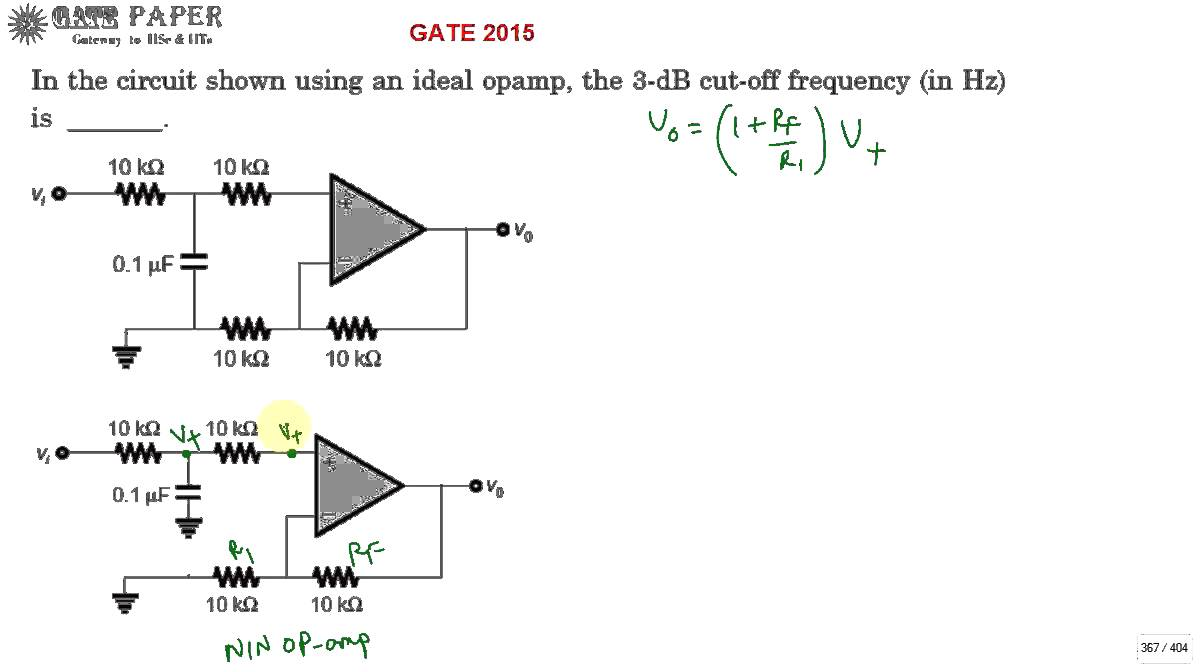 gate 2015 upper 3db frequency of active low pass filter