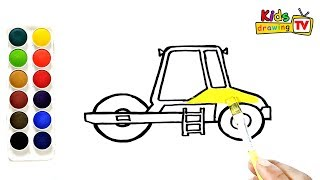 How to Draw Road Roller - Drawing and Coloring video, Learn colors for kids