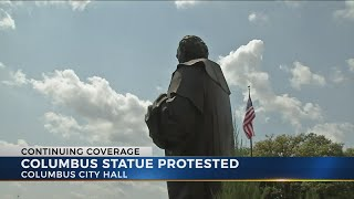 Protesters call for removal of Christopher Columbus statue