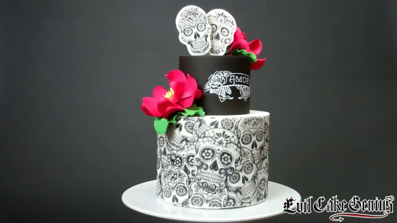 Sugar Skull Cake Amp Stencils YouTube