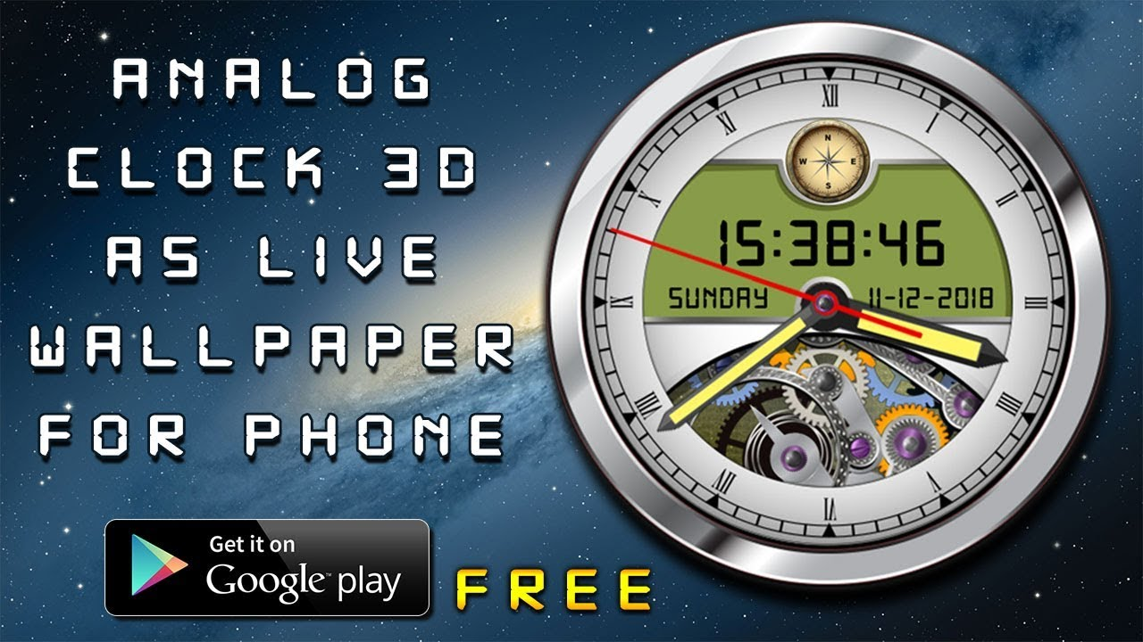 Analog Clock Live Wallpaper 3D Widget With Compass Home Screen Saver Lock