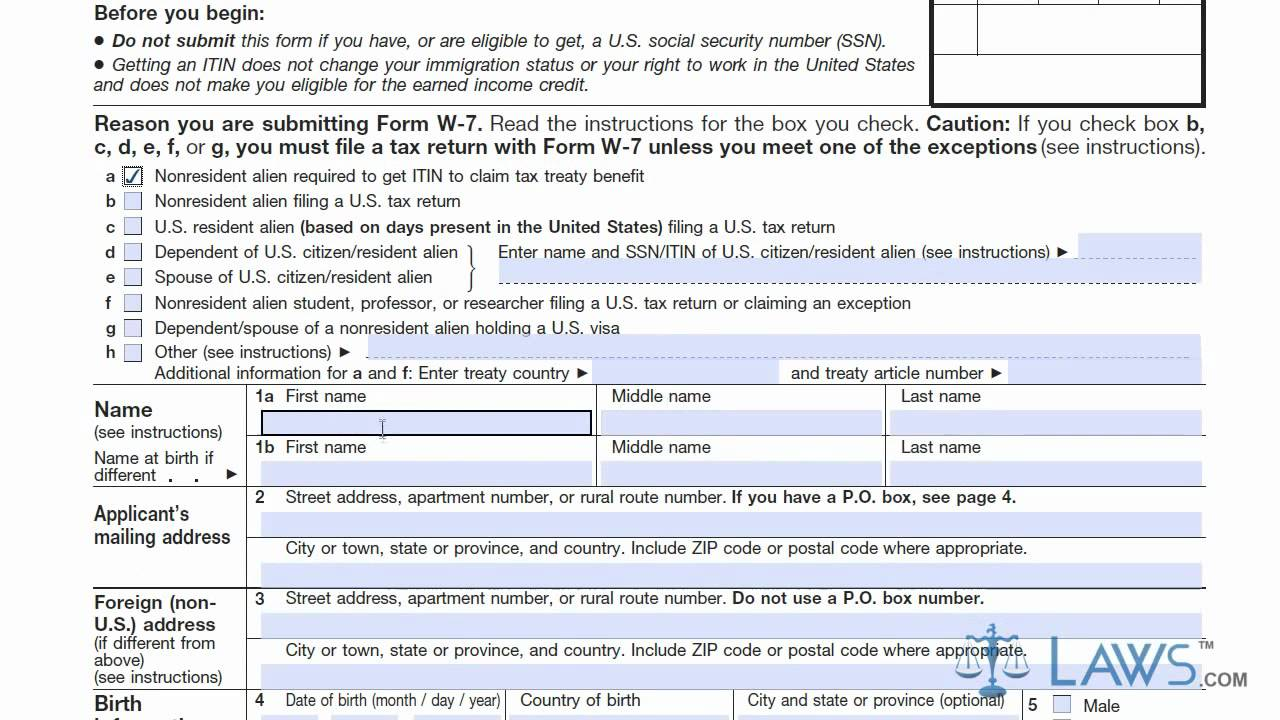 Learn How to Fill the Form W-7 Application for IRS Individual ...