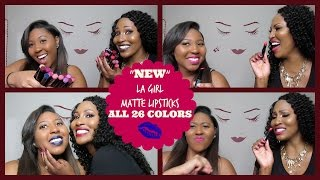 """NEW"" LA Girl Matte Flat Velvet Lipstick Collection Swatches & Review (ALL 26 Shades)"