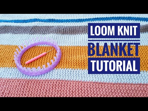 How To Loom Knit A Garter Stitch Striped Blanket / Rug Using A Round Loom (DIY Tutorial)