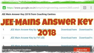 JEE Mains Answer Key 2018 | How to Download