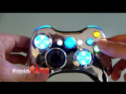 manette xbox 360 modifi e chrome bleu avec sticks lumineux. Black Bedroom Furniture Sets. Home Design Ideas