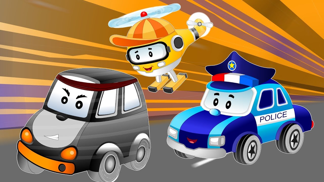 Police car Chase thief stolen baby cars treasure chest | Songs & Cartoon  for Kids - YouTube