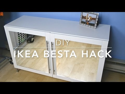 diy ikea besta hack mirrored cabinet youtube. Black Bedroom Furniture Sets. Home Design Ideas