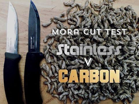 Edge Retention Test! Mora Stainless vs Mora Carbon - Bushcraft Scandi Grinds
