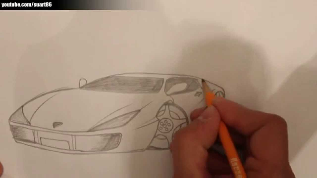 How To Draw A Sports Car Youtube