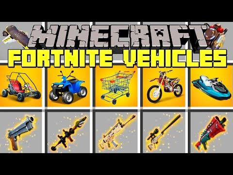 Minecraft FORTNITE VEHICLES MOD l SHOPPING CART, JETS, CARS, TRUCKS & MORE! l Modded Mini-Game
