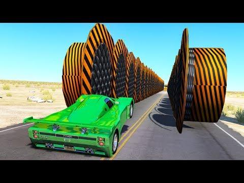 Beamng drive - Hitting Hydraulic Bollards Walls crashes