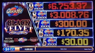 Quick Hit Black Velvet Slot Machine Free Spin Bonus - very nice payout on a $3 bet