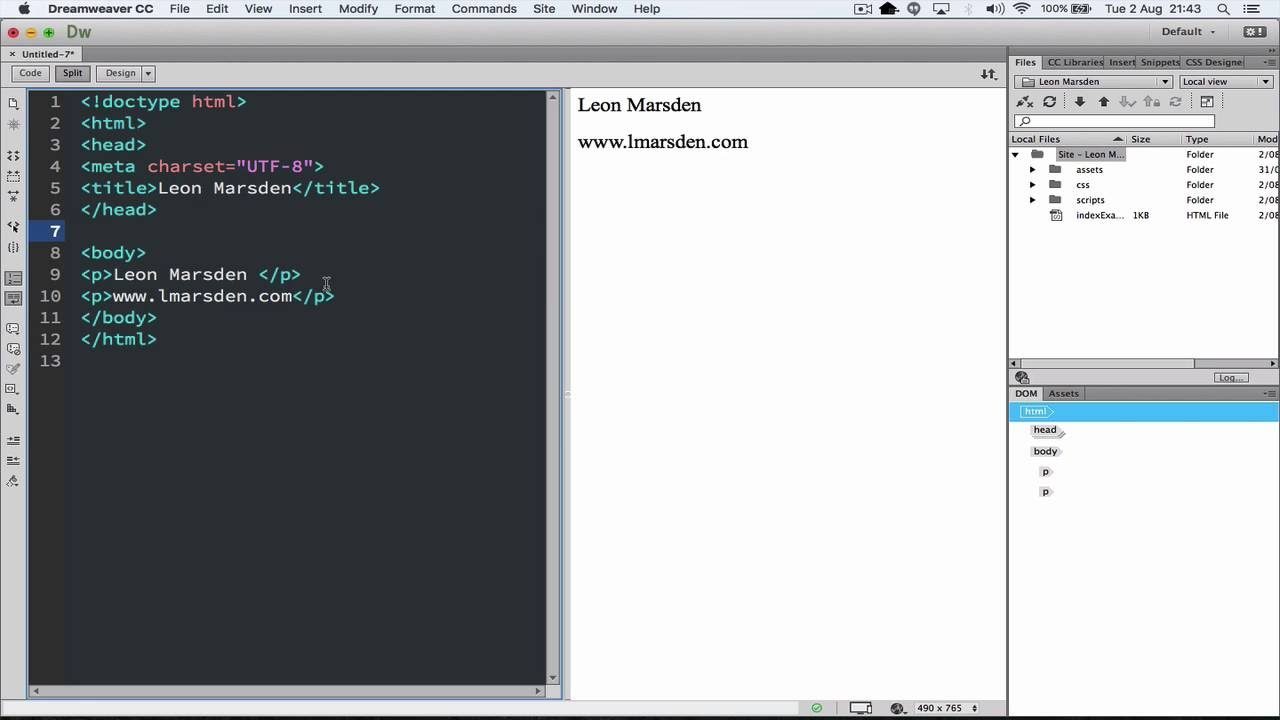 Setting up Dreamweaver for coding in HTML and Javascript